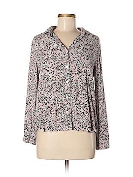 Velvet Long Sleeve Button-Down Shirt Size S