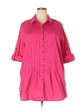 Serengeti 3/4 Sleeve Button-Down Shirt Size 2X (Plus)