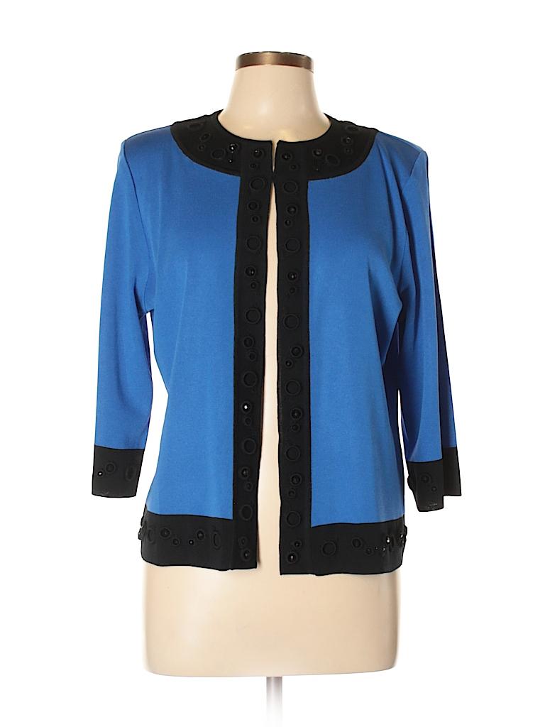 0d5ba8e1567ed MING WANG 100% Acrylic Solid Blue Jacket Size L (Petite) - 86% off ...
