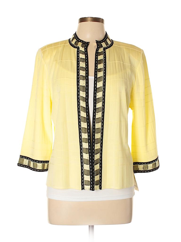 88749b395368a MING WANG 100% Acrylic Solid Yellow Jacket Size L (Petite) - 92% off ...