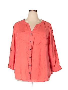 JM Collection 3/4 Sleeve Button-Down Shirt Size 22 (Plus)