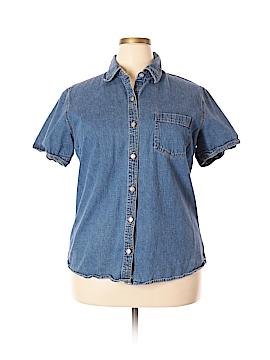 Bill Blass Jeans Short Sleeve Button-Down Shirt Size 1X (Plus)