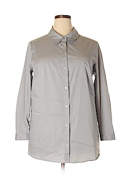 Susan Graver Long Sleeve Button-Down Shirt Size 18W (Plus)