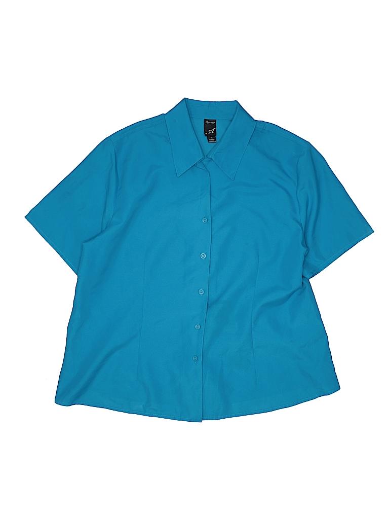 Apparenza Women Short Sleeve Blouse Size 1X (Plus)