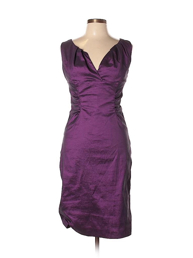 Adrianna Papell Metallic Dark Purple Cocktail Dress Size 10 - 79 ...