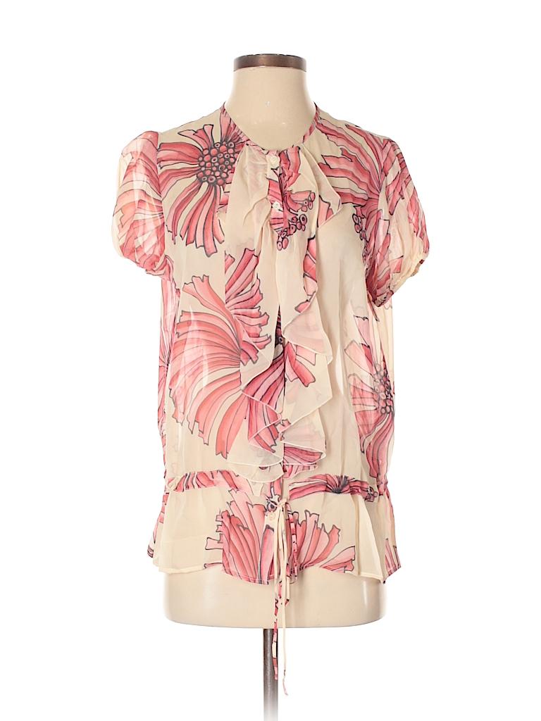 3bc8de62b8c29 Zara 100% Silk Floral Pink Short Sleeve Silk Top Size M - 48% off ...