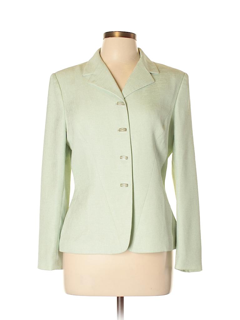 Dillard S 100 Polyester Solid Green Blazer Size 10 Petite 78