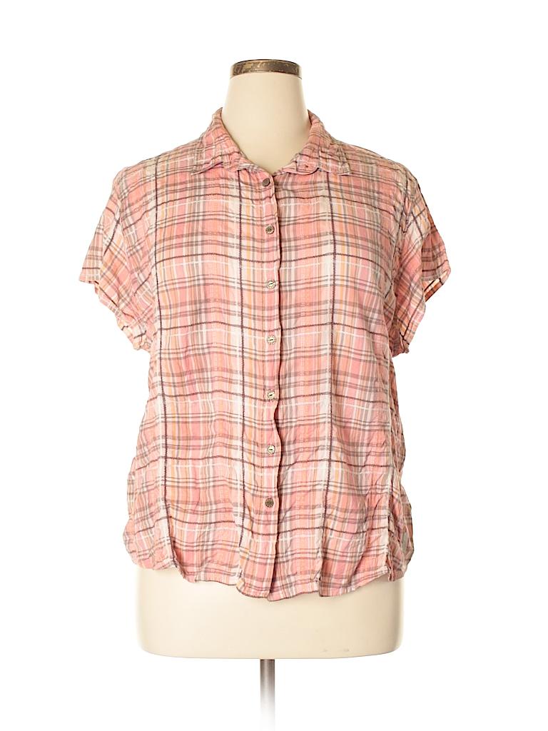 Woolrich Women Short Sleeve Button-Down Shirt Size XXL