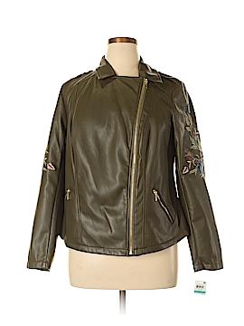 INC International Concepts Faux Leather Jacket Size 0X (Plus)