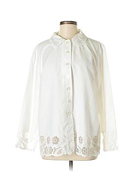Susan Graver Long Sleeve Button-Down Shirt Size L