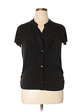 Susan Lawrence Short Sleeve Button-Down Shirt Size XL