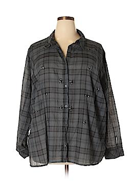 Rock & Republic Long Sleeve Button-Down Shirt Size 3X (Plus)