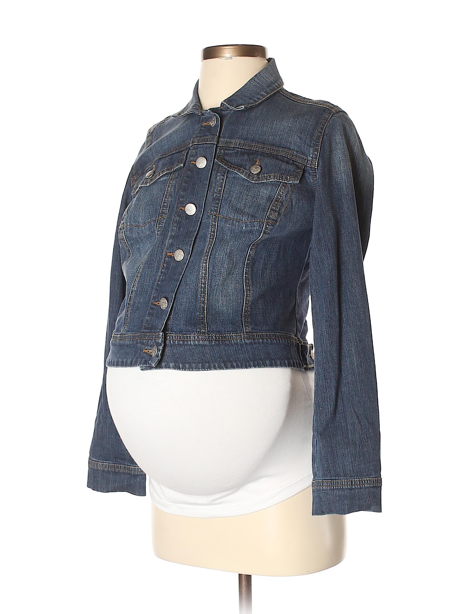 772c2ba1d9e32 Jessica Simpson Maternity Solid Dark Blue Denim Jacket Size S ...