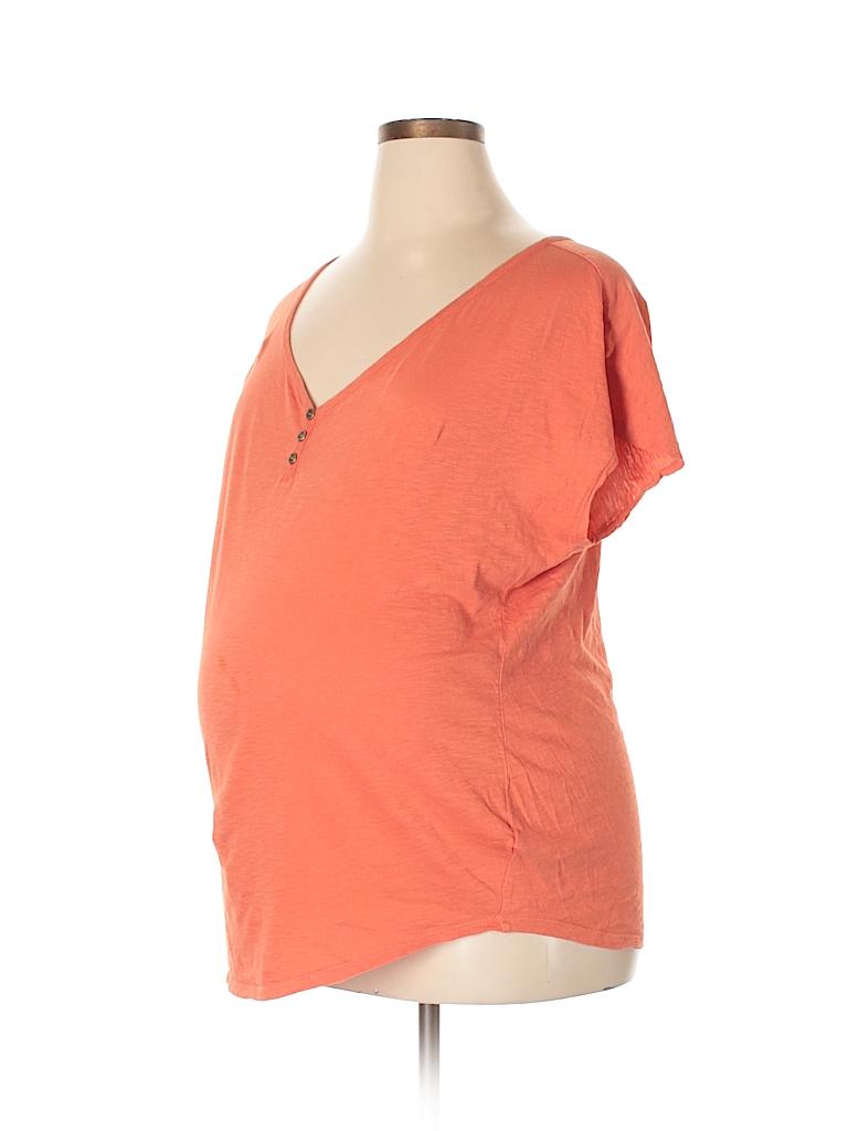 Motherhood Women Short Sleeve Henley Size XL (Maternity)