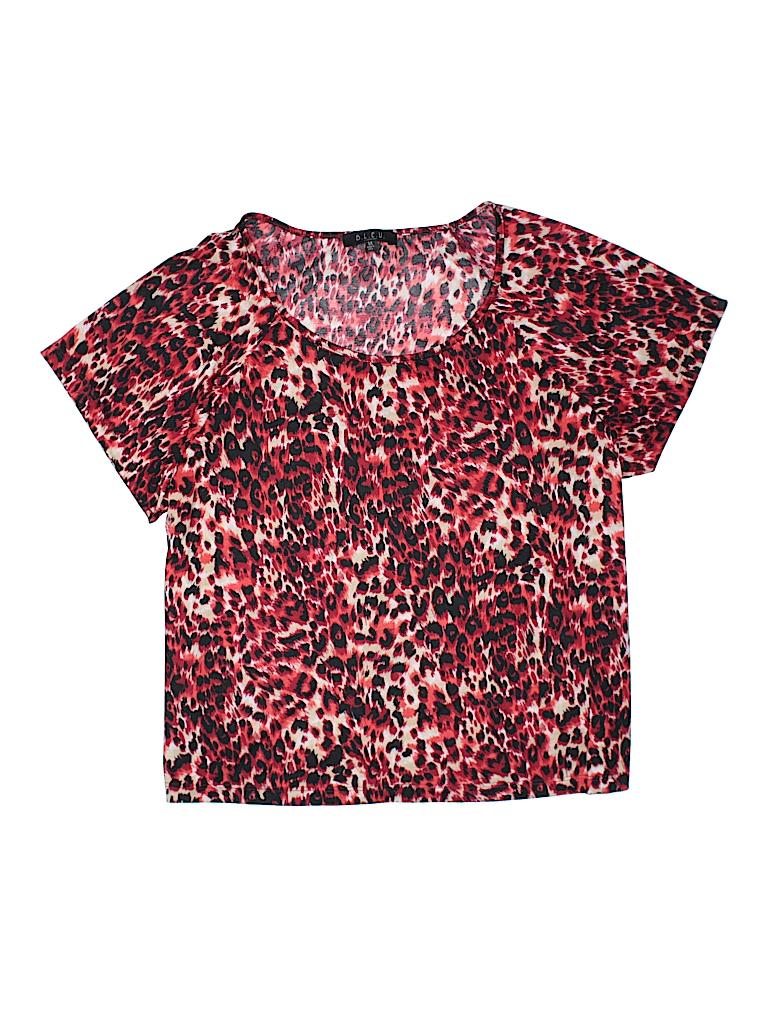 790389b2c83 B.l.e.u. 100% Polyester Animal Print Red Short Sleeve T-Shirt Size ...