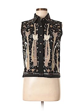 Life Style Sleeveless Button-Down Shirt Size M