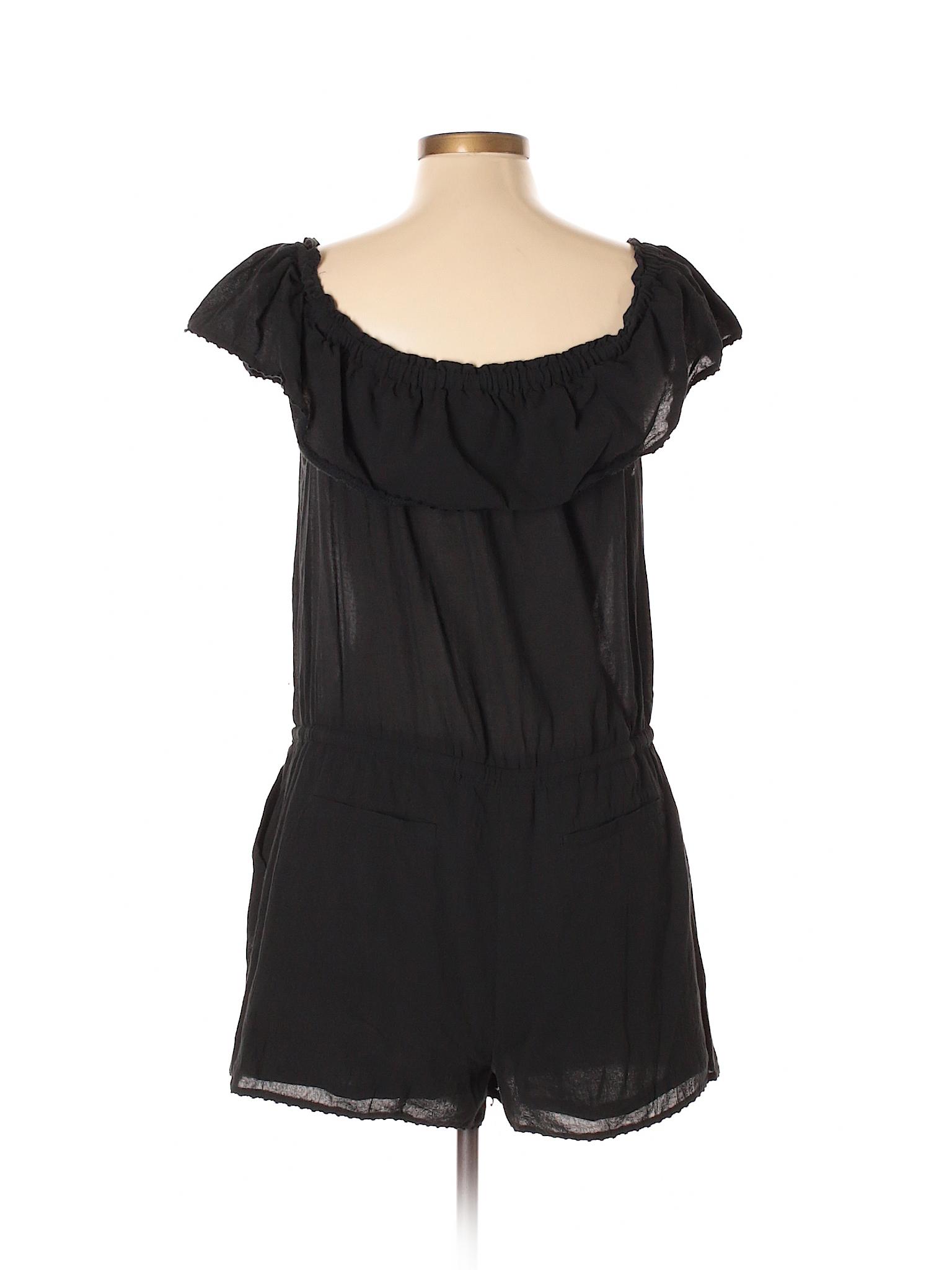 910760525684 Ann Taylor LOFT 100% Cotton Solid Black Romper Size L (Petite) - 98 ...