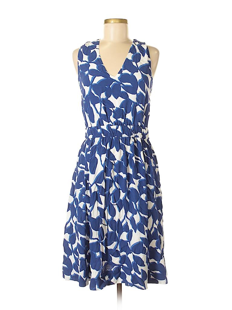 8eb3356e10 Kate Spade New York 100% Viscose Floral Dark Blue Casual Dress Size ...