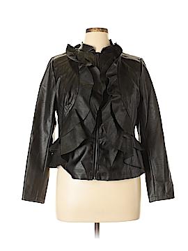 Eloquii Faux Leather Jacket Size 14 (Plus)