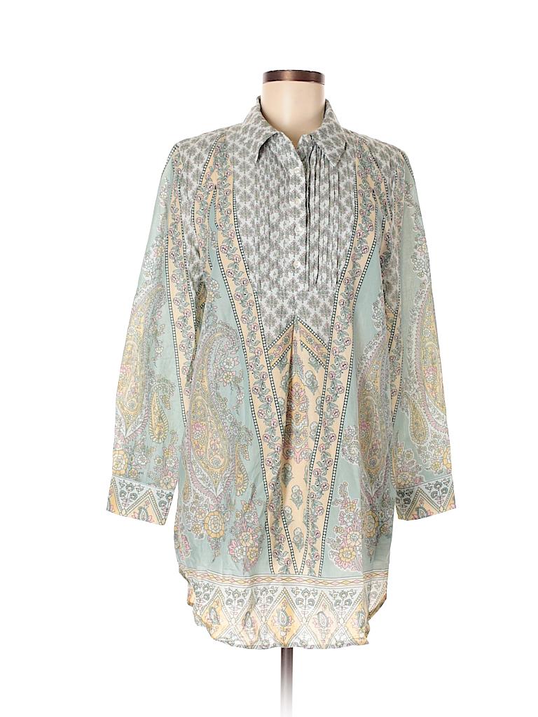 Soft Surroundings 100 Cotton Print Green Long Sleeve Blouse Size M