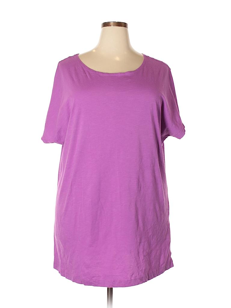 29826bb7bc Roaman s 100% Cotton Solid Dark Purple Short Sleeve T-Shirt Size 1X ...