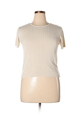 August Silk Short Sleeve Silk Top Size Lg-PETITES
