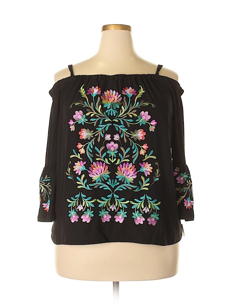 INC International Concepts Women 3/4 Sleeve Blouse Size 1X (Plus)