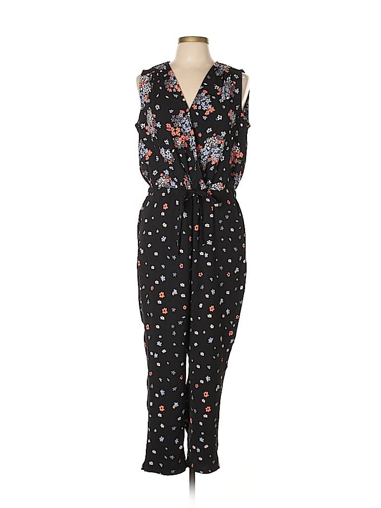 feb765297a04 Ann Taylor LOFT 100% Polyester Floral Black Jumpsuit Size L (Petite ...