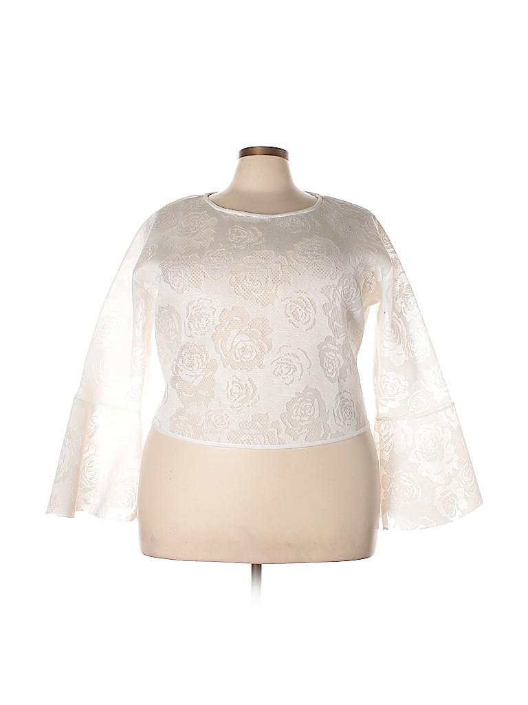 Say What? Women Long Sleeve Blouse Size 1X (Plus)
