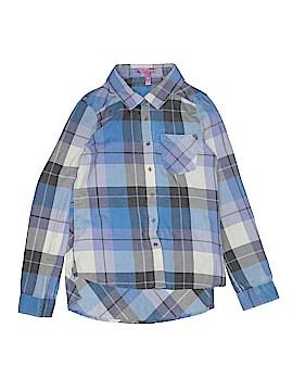 Aqua Long Sleeve Button-Down Shirt Size X-Large (Kids)