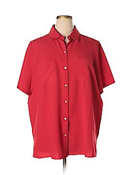 Susan Graver Short Sleeve Button-Down Shirt Size 2X (Plus)