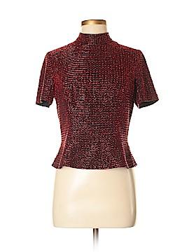 Black Tie Short Sleeve Silk Top Size 8