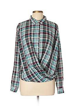 Hem & Thread 3/4 Sleeve Button-Down Shirt Size L