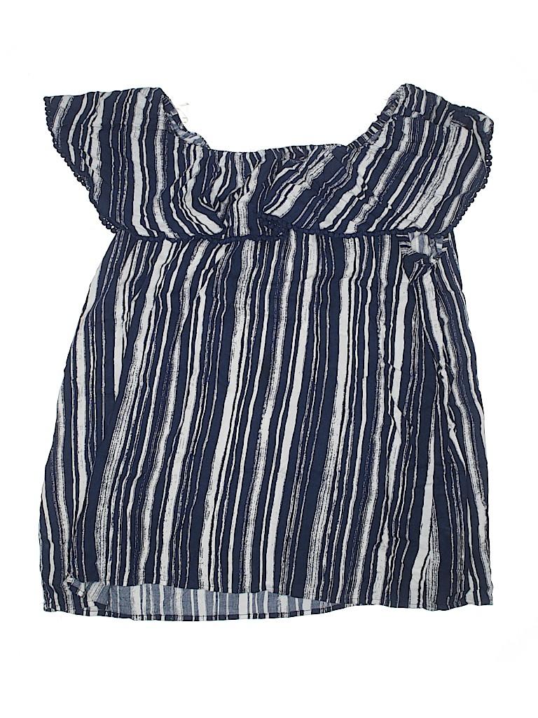 e62a8785c5daf3 Faded Glory 100% Rayon Stripes Dark Blue Short Sleeve Top Size XXL ...