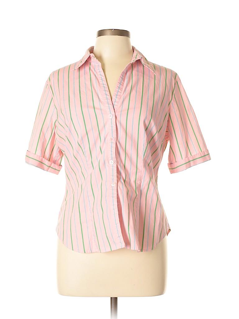 264e4c6b New York & Company Stripes Light Pink Short Sleeve Button-Down Shirt ...