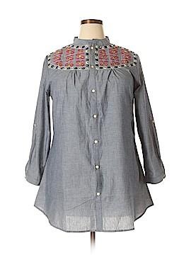 Velzera 3/4 Sleeve Button-Down Shirt Size 1X (Plus)