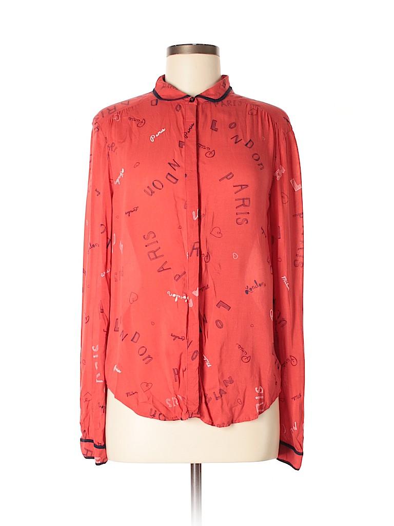 f9ad82e236b Maven West 100% Rayon Print Red Long Sleeve Button-Down Shirt Size 6 ...