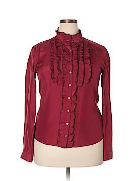 Saks Fifth Avenue Long Sleeve Silk Top Size 14