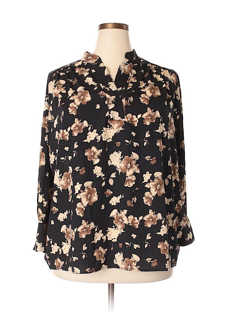 London Times Women 3/4 Sleeve Blouse Size 1X (Plus)