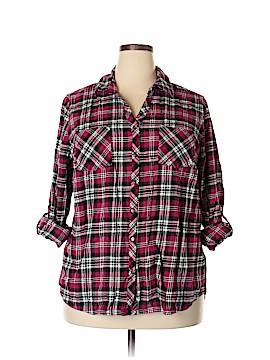 Falls Creek 3/4 Sleeve Button-Down Shirt Size 3X (Plus)