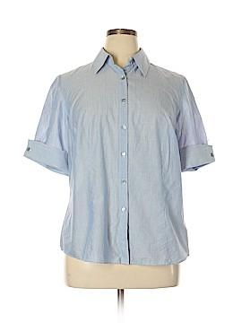 Lafayette 148 New York Short Sleeve Button-Down Shirt Size 14