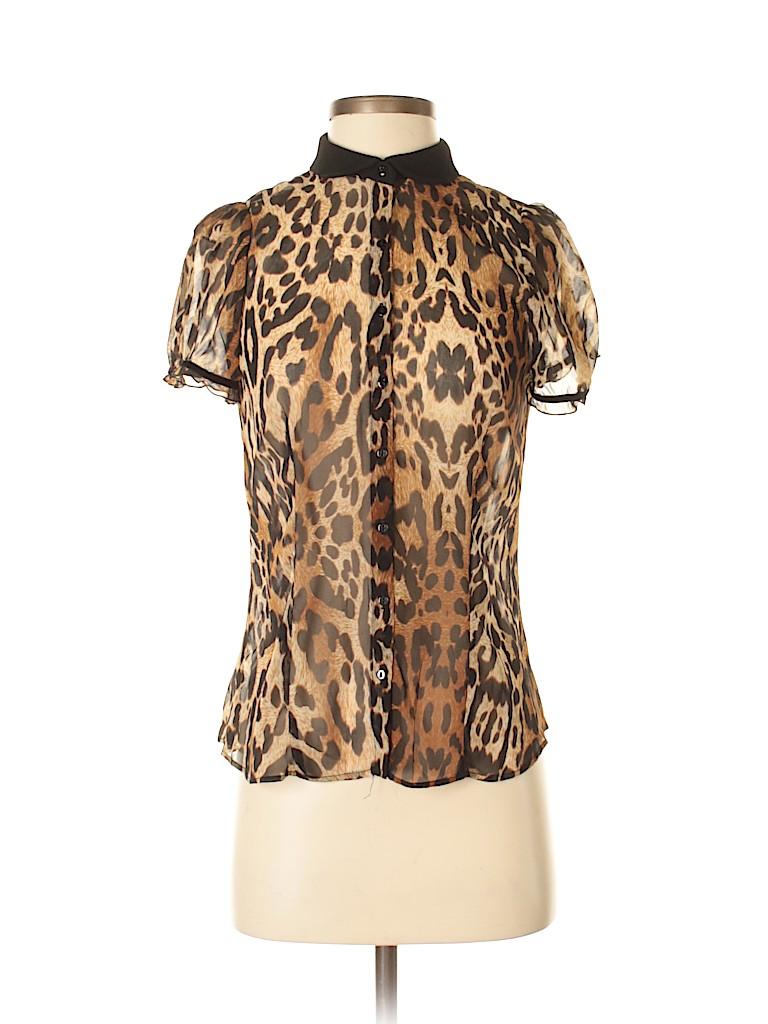 9d179423d727 Zara Basic 100% Polyester Animal Print Brown Short Sleeve Blouse ...