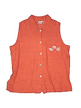 Focus Sleeveless Button-Down Shirt Size L