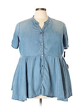 RWN by Rawan Short Sleeve Button-Down Shirt Size 2X (Plus)