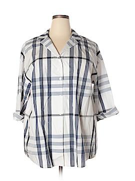 Lafayette 148 New York 3/4 Sleeve Button-Down Shirt Size 2X (Plus)