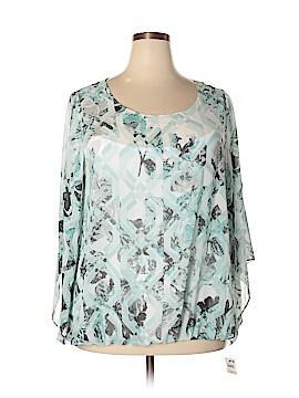 Alfani 3/4 Sleeve Button-Down Shirt Size 2X (Plus)