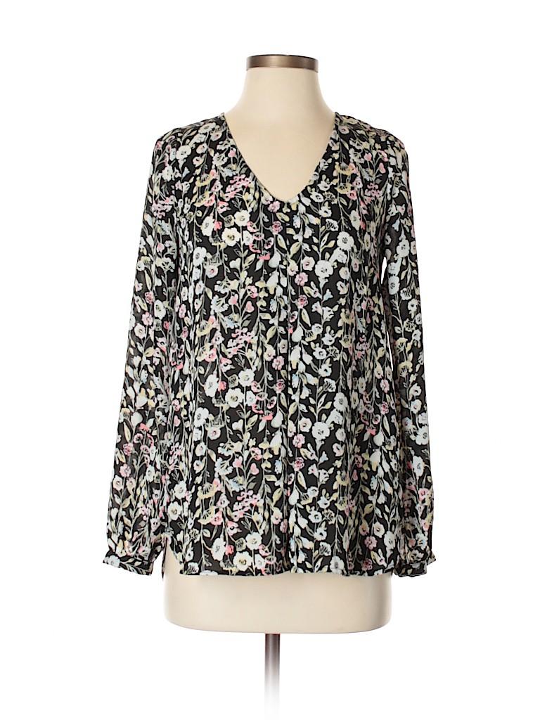 36d045ded813d4 LC Lauren Conrad 100% Polyester Print Black Long Sleeve Blouse Size ...