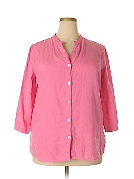 Hot Cotton 3/4 Sleeve Button-Down Shirt Size XL