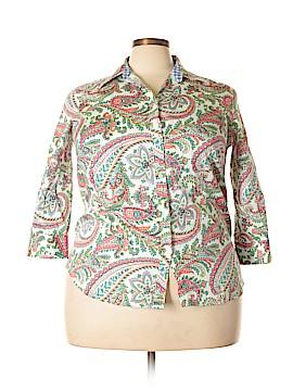 Chaps 3/4 Sleeve Button-Down Shirt Size 1X (Plus)