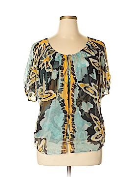 Diane von Furstenberg Short Sleeve Silk Top Size 14